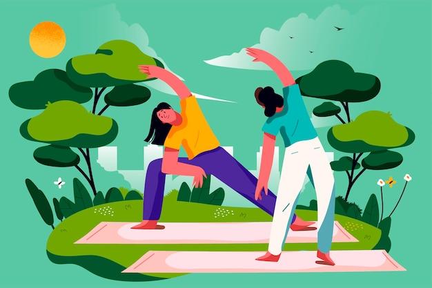 Lezione di yoga all'aria aperta