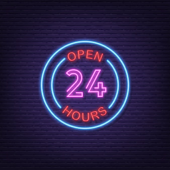 Open all time neon signboard