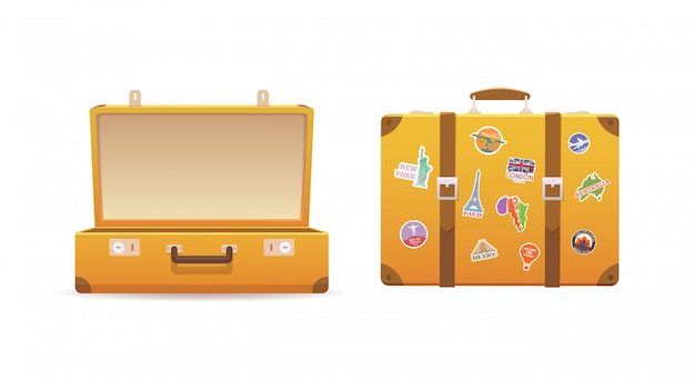 古いスーツケースを開閉する