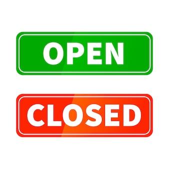 Открытые и закрытые яркие глянцевые знаки для двери магазина, изолированные на белом Premium векторы