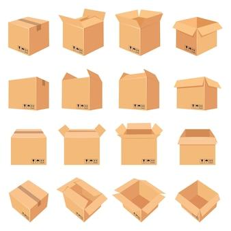 열리고 닫힌 판지 상자입니다. 측면, 전면 및 평면도의 배달 패키지. 포장 과정. 깨지기 쉬운 표지판이 있는 판지 상자 벡터 세트입니다. 유통 및 포장에 그림 판지 상자