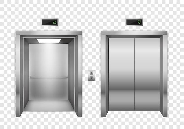열리고 닫힌 크롬 금속 엘리베이터 문