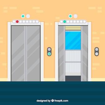 Открытый и закрытый лифт с плоской конструкцией