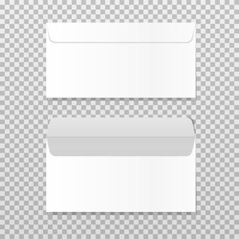 Открытый и закрытый пустой конверт. реалистичный шаблон пустого письма бумага c4 белые конверты вид спереди