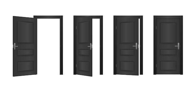 흰색 배경에 고립 된 집의 열리고 닫힌 정문. 열리고 닫힌 입구 현실적인 문. 클래식 룸 개념. 빛나는 빛을 가진 나무로되는 옥외 입구.