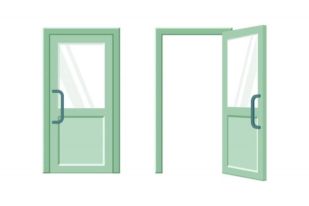 열리고 닫힌 녹색 문 평면 그림