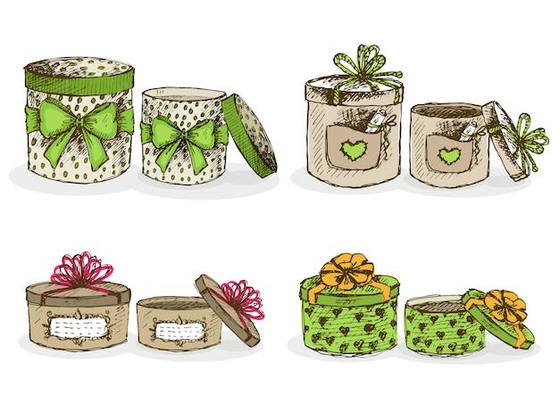 Открытые и закрытые шляпные коробки с декором