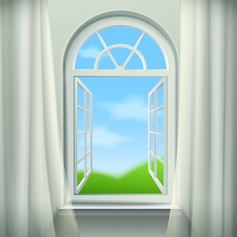 Open arched window background