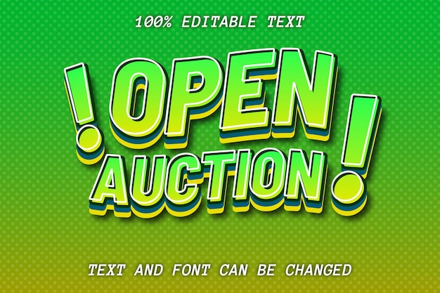 Open auction editable text effect modern style
