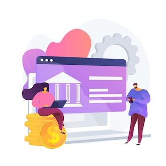 Open banking data access. financial services, mobile payment app development, api technology. web developers designing banking platforms. vector isolated concept metaphor illustration