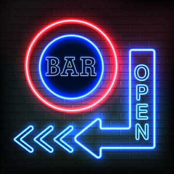 Open bar neon night signboard in arrow shape showing direction on brick wall background realistic vector illustration