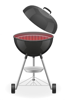Open barbecue grill with heat