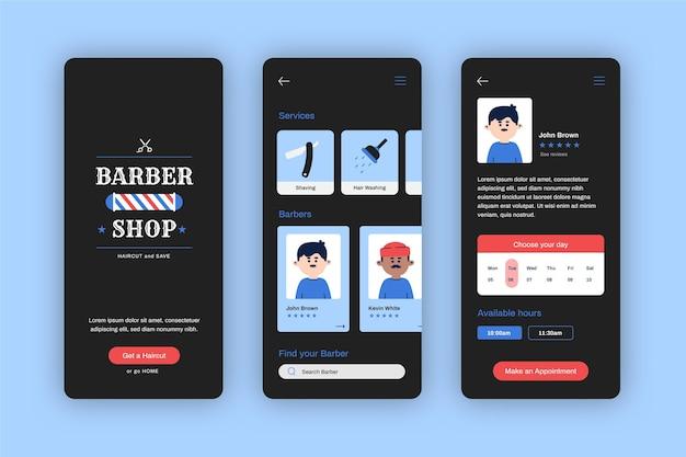 理髪店のモバイルアプリの予約を開く