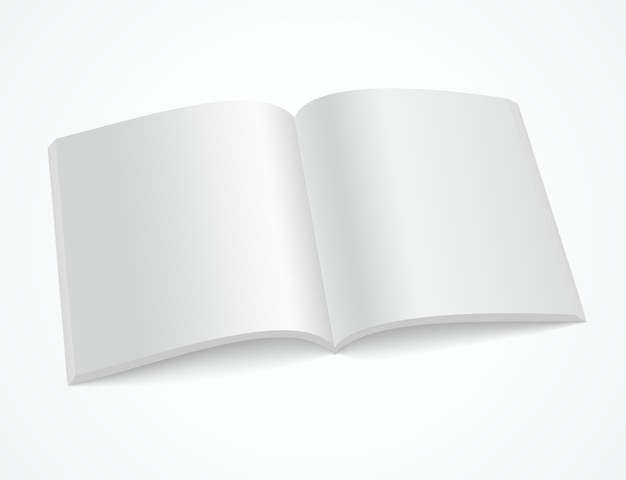 Open blank brochure or magazine on white background