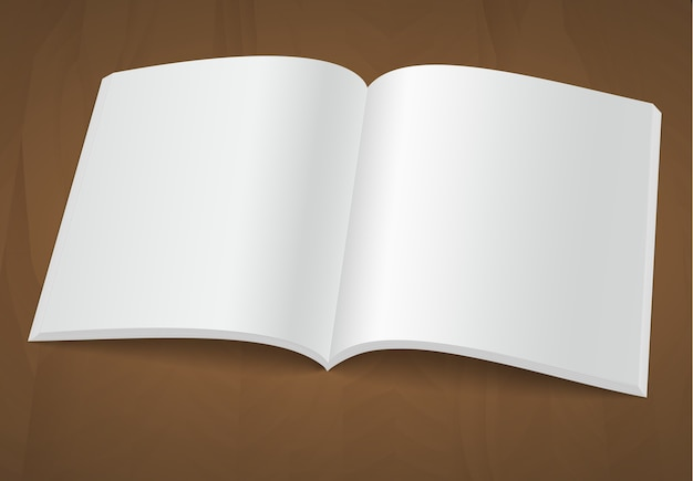 Open blank brochure or magazine on wooden background.