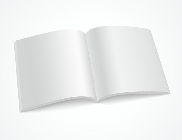 白い背景の上の空白のパンフレットや雑誌を開く