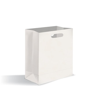 Откройте пустой бумажный пакет с плоским дном и вырубными ручками. чистый пакет, изолированные на белом фоне. реалистичный макет. векторная иллюстрация для рекламы, представление фирменного стиля.