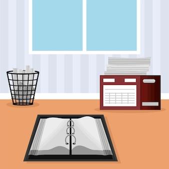Open blank notebook office