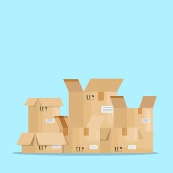 Открытые пустые коробки посылки векторная иллюстрация плоский дизайн