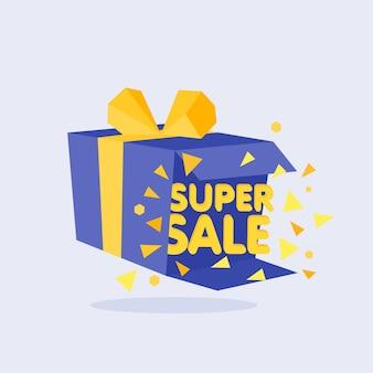 Open blue gift box and confetti. sale background. vector illustration.