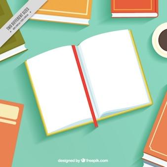 Open book background in flat design