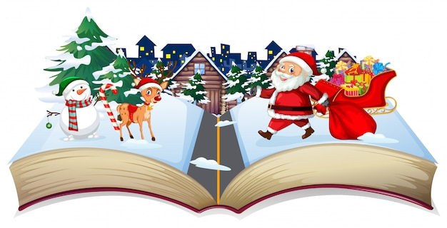 Open book christmas theme
