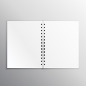 Open book or diary mockup with spiral binding