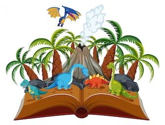 Open book dinosaur theme