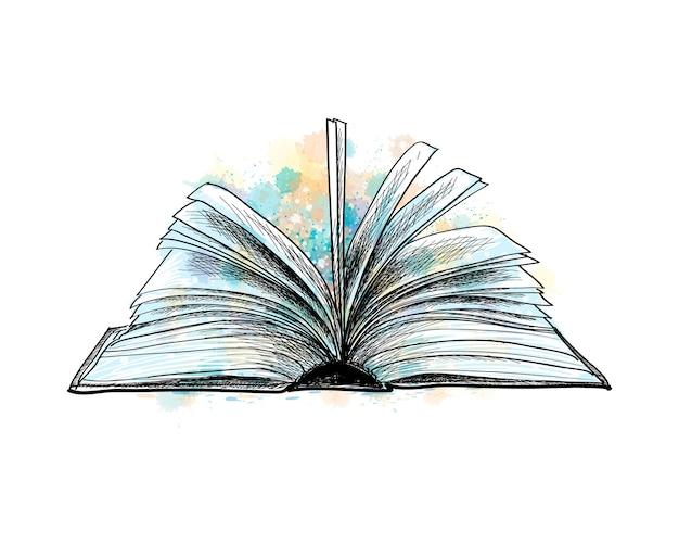 水彩のスプラッシュから開いた本、手描きのスケッチ。塗料のイラスト