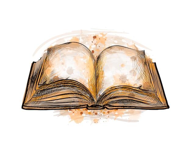 水彩のスプラッシュから開いた本、手描きのスケッチ。塗料のベクトルイラスト