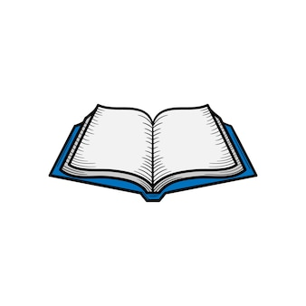 펼친 책 손으로 그린 아이콘 그림 절연