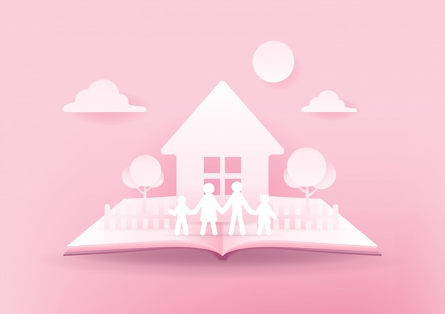 Open book of happy family, house and family paper 3d on pink