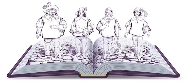Open book historical novel illustration about three musketeers