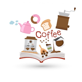 Open book and icons of coffee and tea