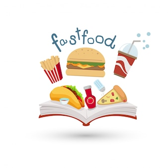 Open book and icons of fast food