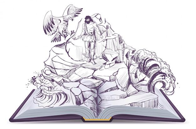 Open book illustration of legend of prometheus eagle pecks liver