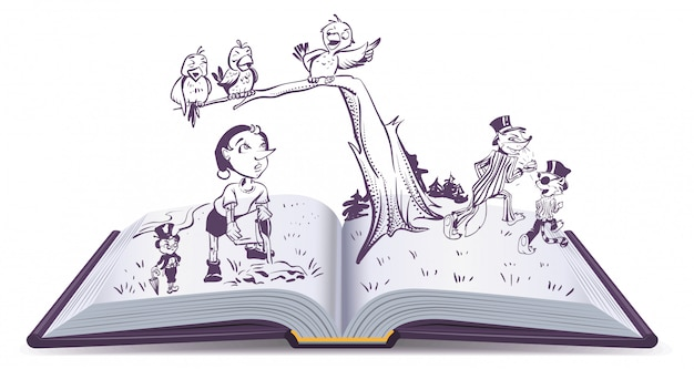 ピノキオの開いた本のイラスト物語