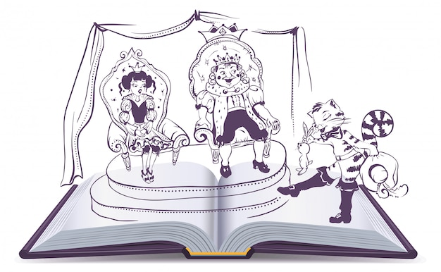 Open book illustration tale of puss in boots
