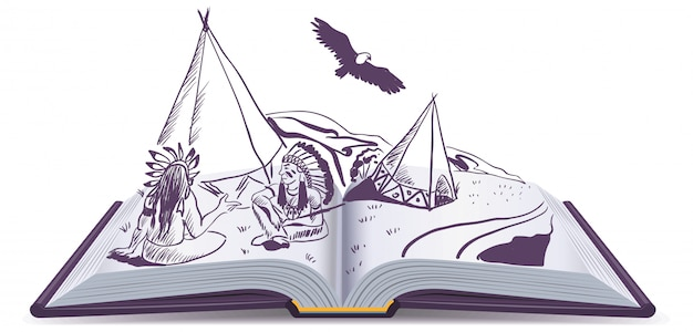 Open book. indians sit at wigwam on pages of open book. adventure story