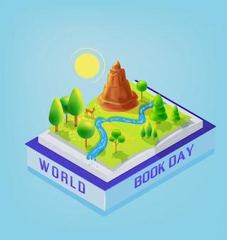 Open book landscape world book day