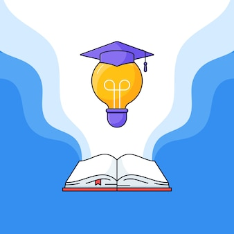 Open book and light bulb with graduated toga hat on top vector illustration for success education learning outline cartoon flat design