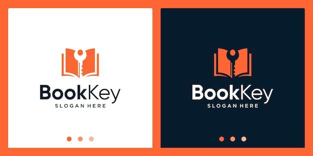 Open book logo design inspiration with key design logo. premium vector