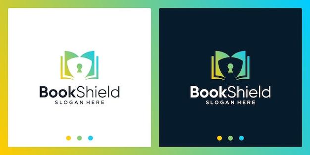 Открытая книга дизайн логотипа вдохновения с логотипом дизайна щита. премиум векторы