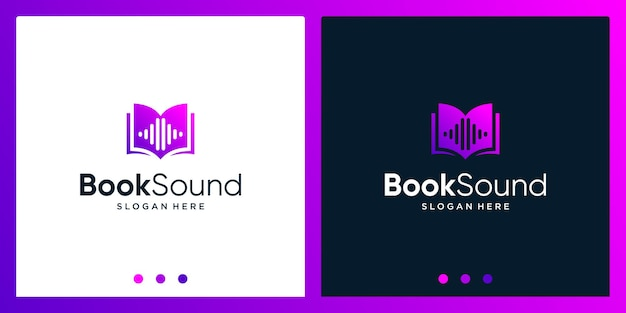 Open book logo design inspiration with sound wave design logo. premium vector
