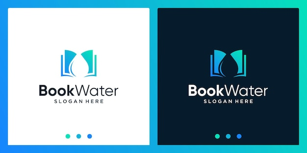 Open book logo design inspiration with water design logo. premium vector