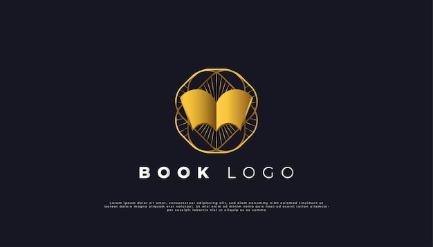 Open book logo with luxury vintage style in gold gradient.