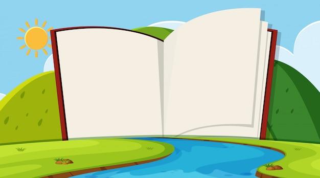 Open book on nature landscape