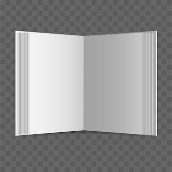 透明な背景に開いた本。現実的な空白の本。図。