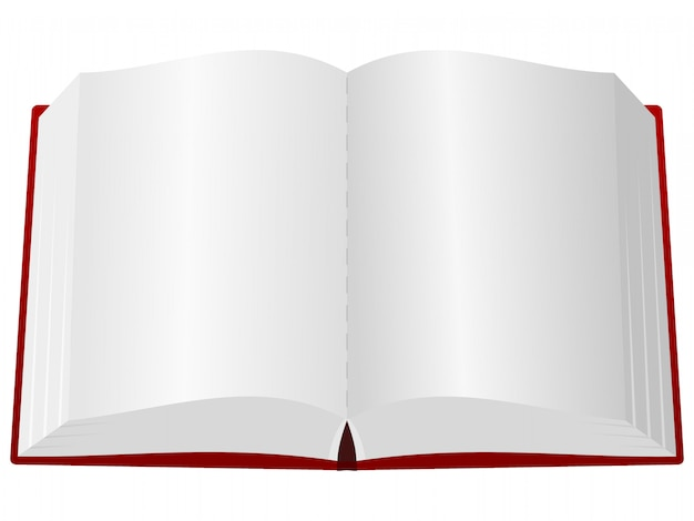 An open book in the red cover