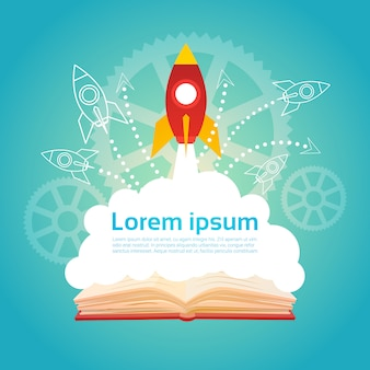 Open book space rocket business startup education knowledge concept